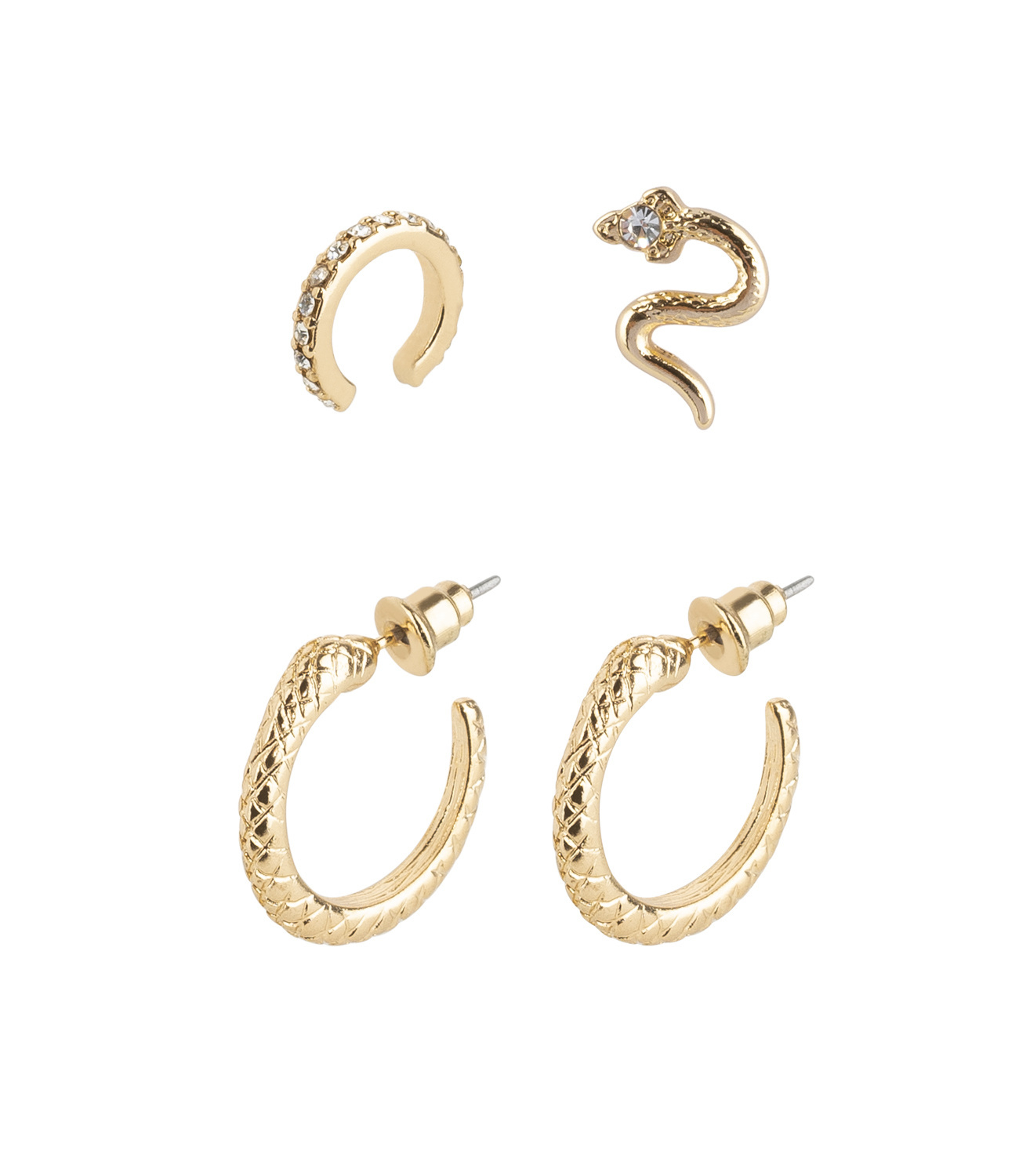 4er Stacking-Set im Reptilienlook mit Earcuff